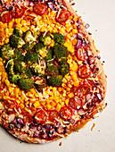 A healthy rainbow pizza
