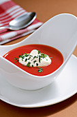 Jellied tomato soup with gin