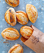 Breakfast rolls with sesame seeds and poppy seeds