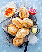Breakfast rolls with blood orange jam