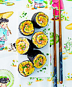 Nori rolls with egg and salmon
