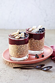 Vegan chia pudding with acai and blueberries