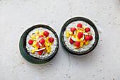Mango-Lime-Porridge with coconut yoghurt