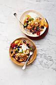 Sweet vanilla scrambled eggs with summer fruits