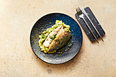 Mackerel with savoy cabbage-parsnip mash