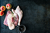 Raw duck and goose bits