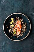 Marinated salmon trout with leek and a lentil vinaigrette