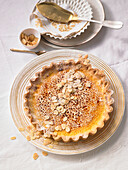 Almond tarte brûlée with dates and vanilla seeds