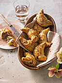Stuffed crispy croissants with pastrami and pecorino cheese