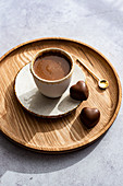 Sugar Rimmed Cup of Hot Chocolate with Heart Shaped Chocolates