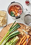 Preparing chicken soup 'To Go