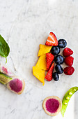 Ingredients for raw fruit and vegetable spring rolls