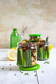Lentil salad with green asparagus and smoked tofu in a jar
