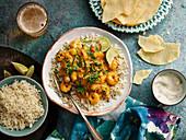 Keralan prawn curry and curry sauce