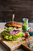 Jalapeno, bean and chickpea burger