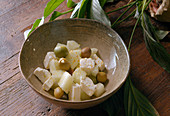 Melon, Feta cheese and Olives salad - Step by step