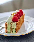 Millefeuille with pistachio cream and raspberries