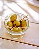 Marinated green olives