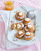 Baked doughnuts with pear jam
