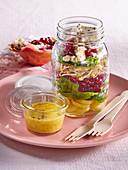 Autumn salad in jar