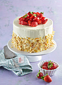 Almond biscuit tart (gateau) with strawberries