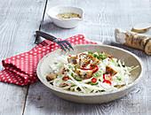 Cabbage salad with horseradish and mushrooms