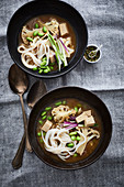 Cauliflower miso soup with rice noodles and tofu