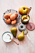 Ingredients for desserts with apples and pears