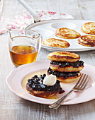 Zucchini pancakes with blueberry jam