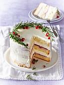 White cake (gateau) with rosemary