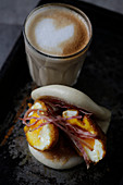 Breakfast bun with egg and ham (Bao bun)