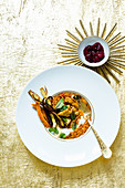 Dhal curry with roasted vegetables, Jerusalem artichoke pakoras and chutney