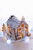 Gingerbread house with intricate icing decoration