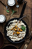 Chanterelles creamy risotto with sage