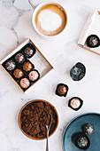 Chocolate bon bons with coffee