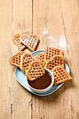 Banana waffles with chocolate sauce