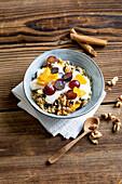 Autumnal quinoa porridge with vegan yogurt
