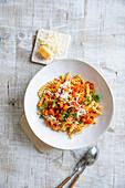Gluten-free Chickpea Fusilli with Pumpkin Bolognese