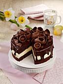 Egg liqueur chocolate cake for Easter