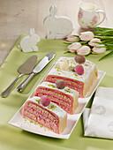 Easter marzipan tray cake