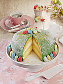 Easter cake with a marzipan topping