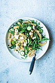 Pasta salad with honey mustard dressing and feta cheese