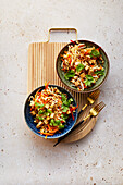 Chinese cabbage slaw with peanut tofu