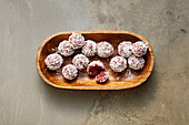 Pink energy balls with almonds, beetroot, dates and flax seeds