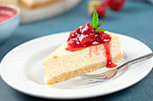 American Cheesecake baked with almond flour, erythritol and cream cheese