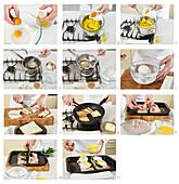 Preparing Eggs Benedict with Hollandaise sauce