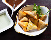 Samosas with lentils and lamb