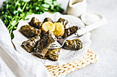 Traditional Georgian grape leaves wraped tolma