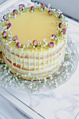 Festive cake with rosebuds