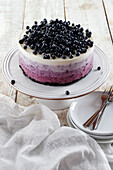Cold blueberry ombre cake